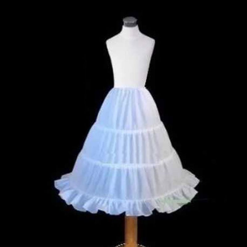 Children Girls Petticoat A-Line 3 Hoops Kids Crinoline Lace Trim Dress Underskirt Elastic Drawstring Half Slip White Skirts