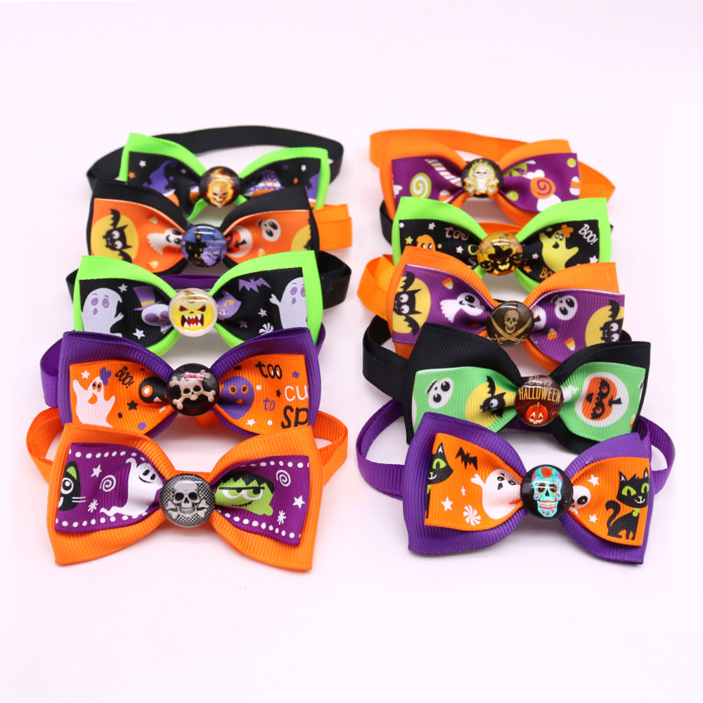 50/100pcs Pet Dog Bow Ties Adjustable Bowties for Small Dog Puppy Halloween Grooming Accessories Pet Products