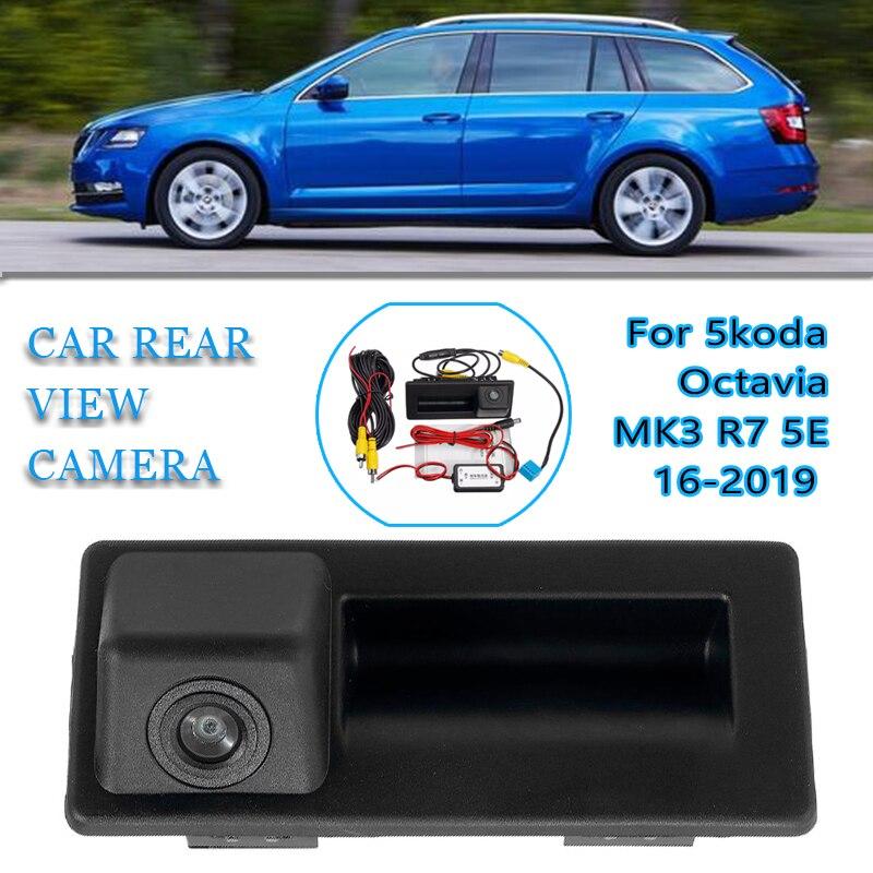 Автомобильный задний багажник багажника задняя дверная ручка заднего вида резервного копирования Камера HD для Skoda Octavia MK3 A7 5E 2016 2017 2018 ПРЕВОСХОДНАЯ 3 Камеры заднего вида для авто      АлиЭкспресс