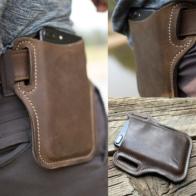 Vintage Leather Waist Bag Cellphone Loop Holster Mens Belt Bag Phone Pouch Wallet  Phone Case for IPhone Samsung Huawei General