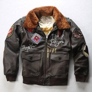 Мужская куртка-пилот Tom Cruise Top Gun, куртка из коровьей шкуры ВВС, 100% натуральная Толстая зимняя куртка из воловьей кожи для России, 2020