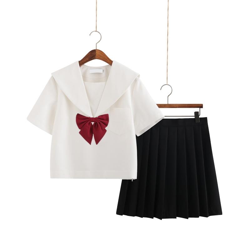 School Dresses Jk Uniforms Cute Sailor Suit College Middle School Uniform Dress Anime Form Costumes Pleated Skirt With Bow Tie