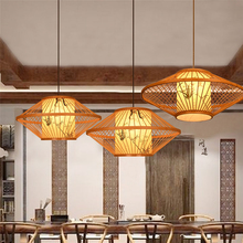 Vintage Wooden Led Pendant Light Lighting Loft Home Interior Decoration Bamboo Lamp Luminaire HangLamp Industrial