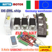 de ship free vat 4 pcs nema23 425oz in 2 8n m 112mm length single shaft stepper motor stepping motor 3a for cnc router engraving 3 Axis USBCNC CNC Controller kit Nema 23 Stepper Motor(Dual Shaft) 425oz-in 112mm 3A & Driver 40VDC 4A 128 microstep