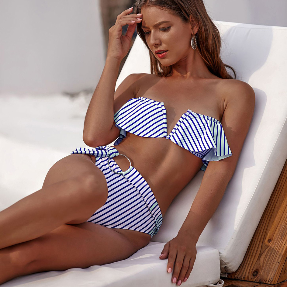 Sexy Striped Ruffled Bikini 2020 Women Bandeau Push Up Swimwear Women Swimsuit High Waist Bikini Set Swim Suit for Bathing Suits
