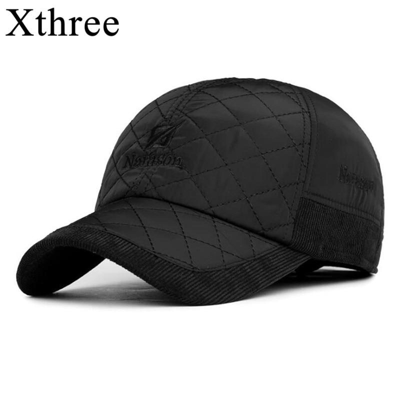 Xthree Winter   Baseball     Cap   for men   cap   Ear   cap   Snowcap Snapback Hat For Men   Baseball     Cap   Bone Trucker Gorras