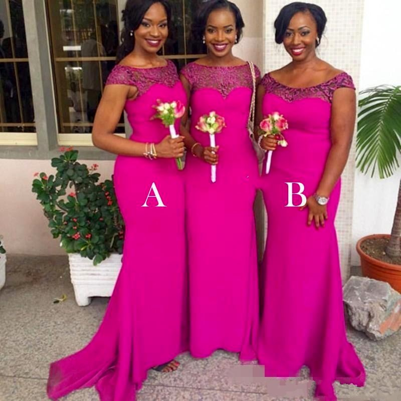 Fuschia African Mermaid Bridesmaid Dresses Plus Size Scoop Wedding Guest Dresses Lace Cap Sleeves Maid Of The Honor Gowns