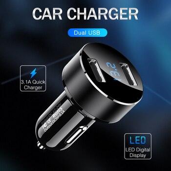 5V / 3.1A Carregador de carro duplo USB com display LED Carregador de carro universal para Samsung iPhone X XS 8 Plus Xiaomi HUAWEI Tablet 1