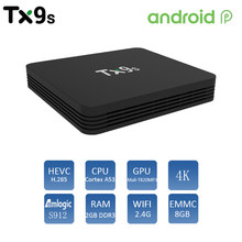 Android tx9s caixa de tv 2gb 8gb conjunto caixa superior 2.4g wifi 4k suporte youtube smart tv assistente media player
