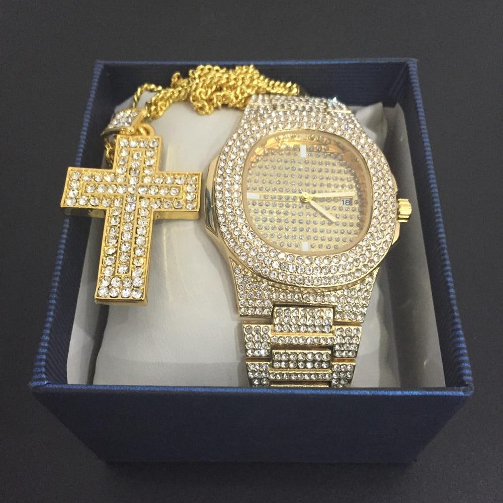 Luxury Men Watch Diamond Hip Hop Jewelry Ice Out Ankh Cross Pendant Chain Necklace Sliver Cz Bling Rapper Jewelry Set For Mem