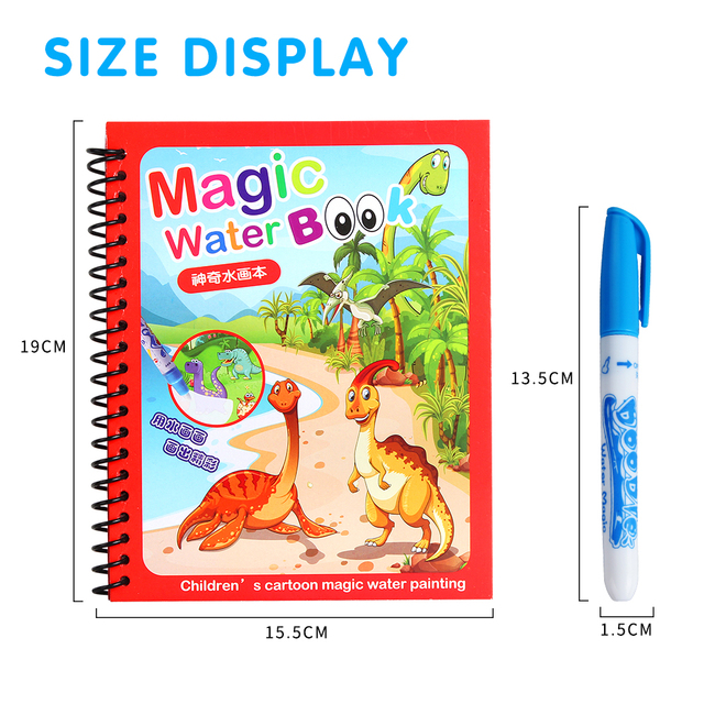 Magic Water Drawing Book Coloring Book Doodle Magic Pen Painting Drawing Board Kids Toys Birthday Christmas New Year Gift GYH 2