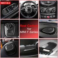 AMBERMILE Real Carbon Fiber Car Sticker Interior Trim Stickers for Mini Cooper F54 F55 F56 JCW F57 Countryman F60 Accessories