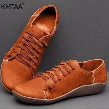 Zapatos planos de otoño para mujer, zapatillas cómodas de cuero suave con cordones para mujer, zapatillas informales de mujer a la moda de talla grande 2019, novedad