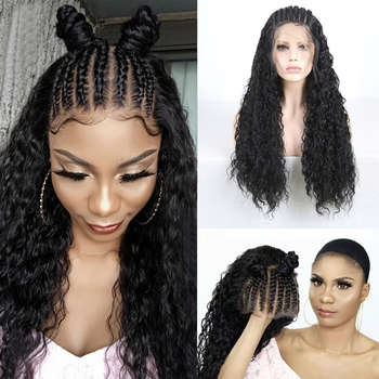 RONGDUOYI Black Heat Resistant Hair Braids Synthetic Lace Front Wigs for Women Long Hair Braided Front Lace Wig with Baby Hair long synthetic african american wigs heat resistant synthetic lace front wig baby hair for black women lace wigs wholesale price