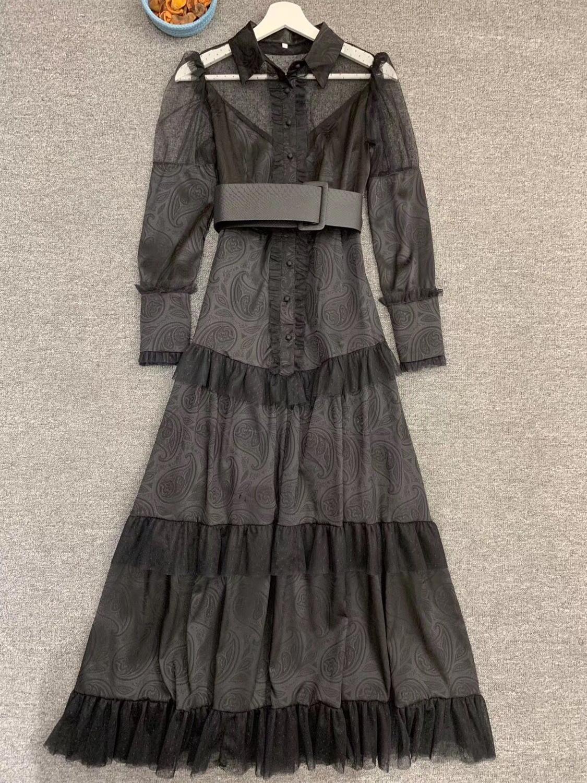 LINGHAN Imprimiu o Vestido Maxi do vintage das Mulheres Sexy Malha Patchwork Elegante Vestidos Plissados Partido Marca Designer Novo - 4