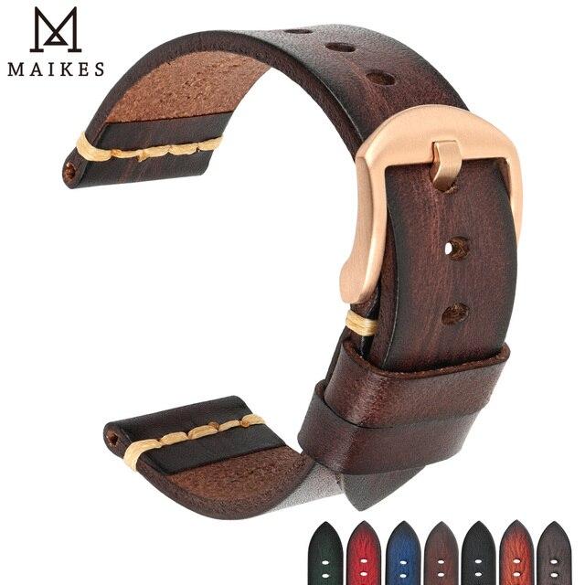 Maikes אמיתי רצועת השעון עור לגלקסי שעון רצועת 18mm 20mm 22mm 24mm להקת שעון Tissote טיימקס אומגה יד צמידים