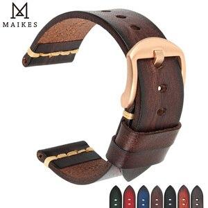 Image 1 - Ремешок Maikes из натуральной кожи для Galaxy Watch, браслет для часов Tissote Timex Omega, 18 мм 20 мм 22 мм 24 мм