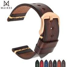 Maikes pulseira de couro genuíno para galaxy pulseira de relógio 18mm 20mm 22mm 24mm relógio banda tissote timex omega pulseiras de pulso