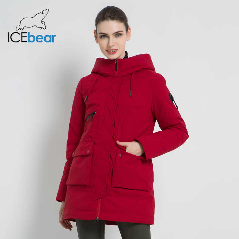 ICEbear 2019 New Winter Hooded Jacket Women's Coat Fashion Female Jacket Warm Winter women's Parkas Plus Size Clothing GWD19078I