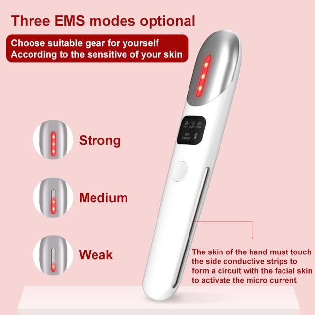 Mini Électrique Doeil de Vibration Visage Masseur EMS Thérapie de Lumière Rouge Anti-Vieillissement de Ride Doeil de Retrait de Cercle Foncé Soins De Beauté Stylo