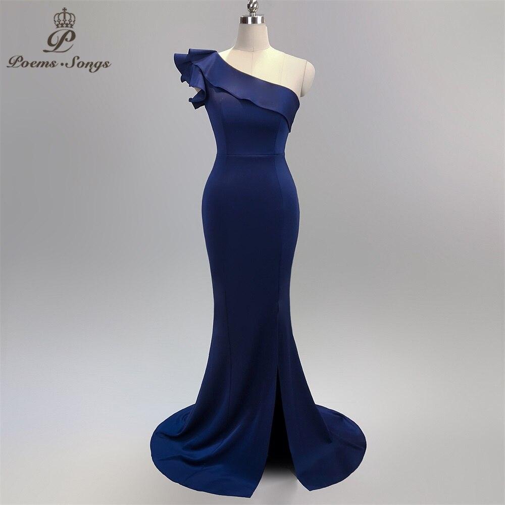One Shoulder Style Sexy Backless Evening Prom Slit Side Open Mermaid  Party Dress Vestido De Festa Vintage Robe Longue