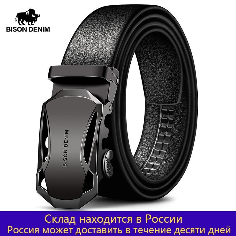 BISON DENIM Men's Belt Cow Leather Belts Brand Fashion Automatic Buckle Black Genuine Leather Belts For Men 3.4cm Width N71314