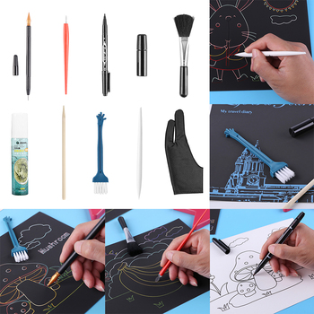Scratch Painting Tools Scraping Drawing Sketch Art DIY Crafts Scraper Pen Black Brush Stick Paper Boards Kit 2020 image