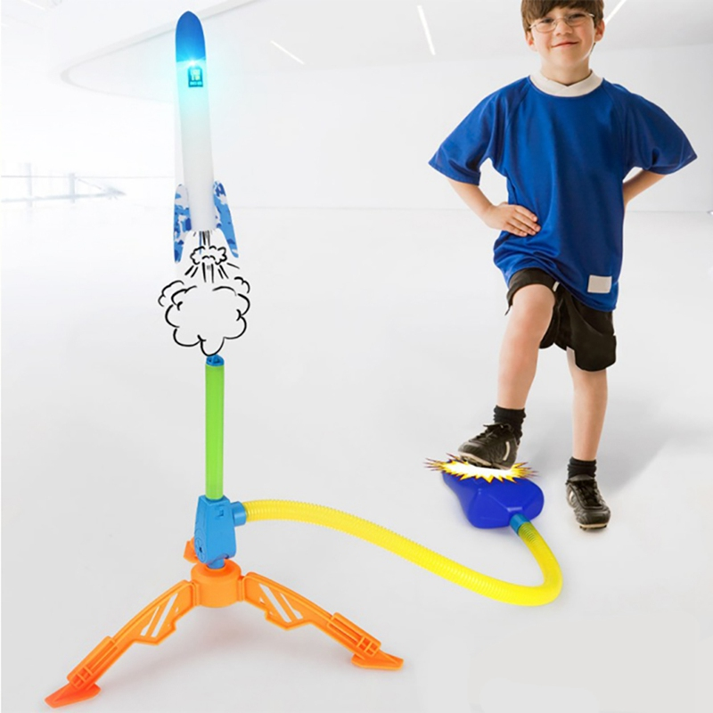 Outdoor Sports Toys Rocket Toy Adjustable Foot Toys For Children Compressed Air Rocket Launcher Outdoor Family Games 2019