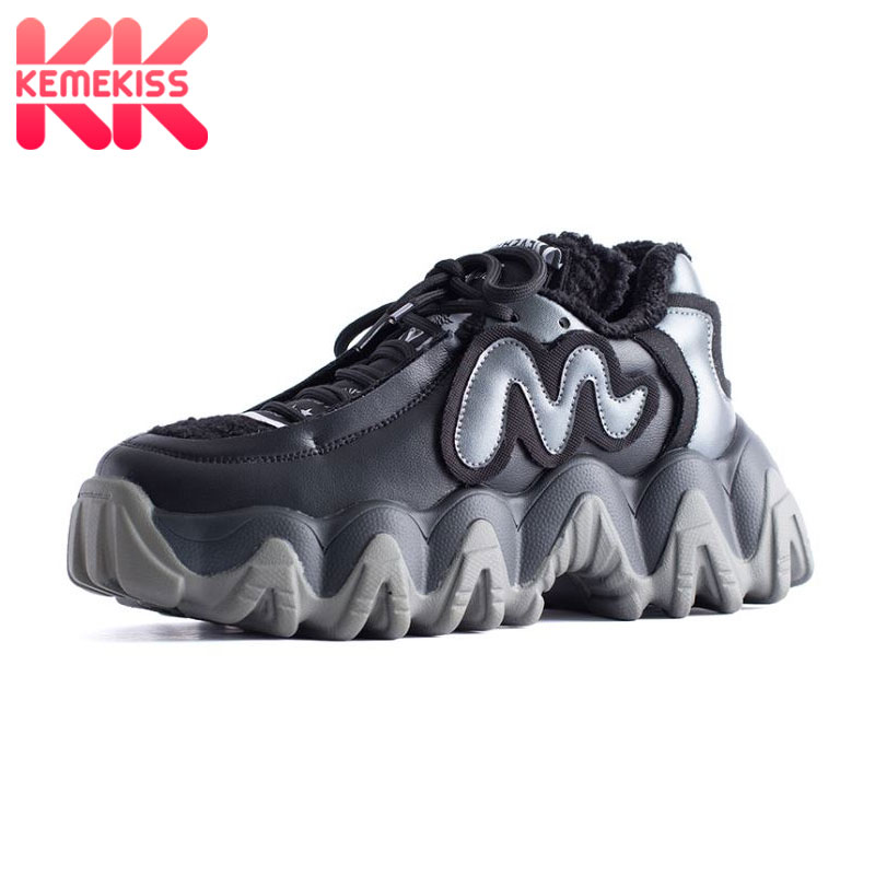 KemeKiss 2020 Ins Hot Winter Sneakers Fashion Punk Girl Black Casual Shoes Woman Lace Up Warm Fur Sneakers Size 35-40