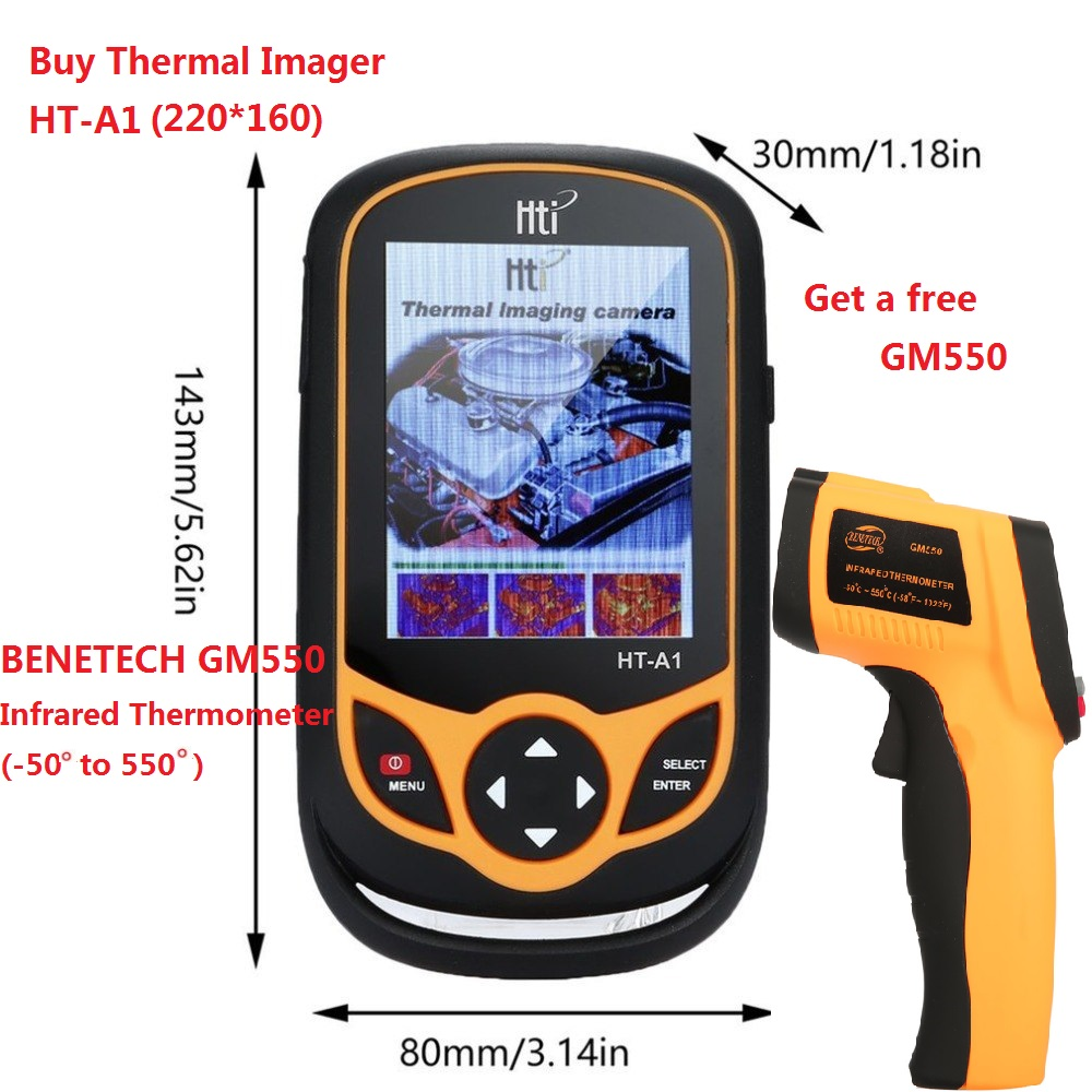 Infrared Thermometer Imager,HT-A1 Infrared Thermometer Imager Mobile Phone Type HD Thermal Imaging Camera 100-240V 3.2inch