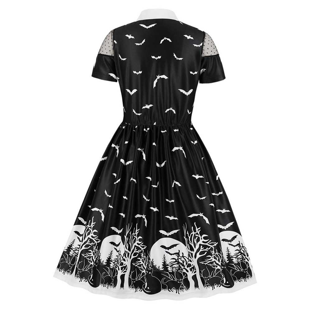 Sestra Moja בת מודפס ליל כל הקדושים שמלת שרוולים קצרים שטוח צווארון אונליין שמלות שוויצרי דוט לוח גבירותיי תלבושות מפלגה שמלה