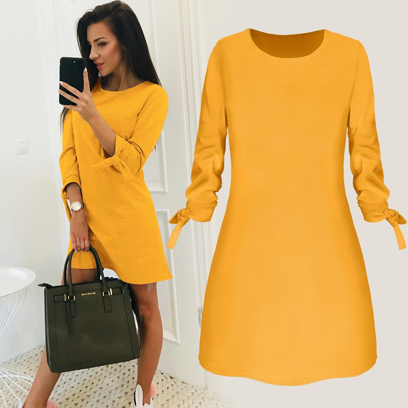 Ladies One-pieces Dress Solid Color Rounded Neck Long Sleeves Casual Dress For Spring Autumn Bow Elegant Beach Female Vestidos