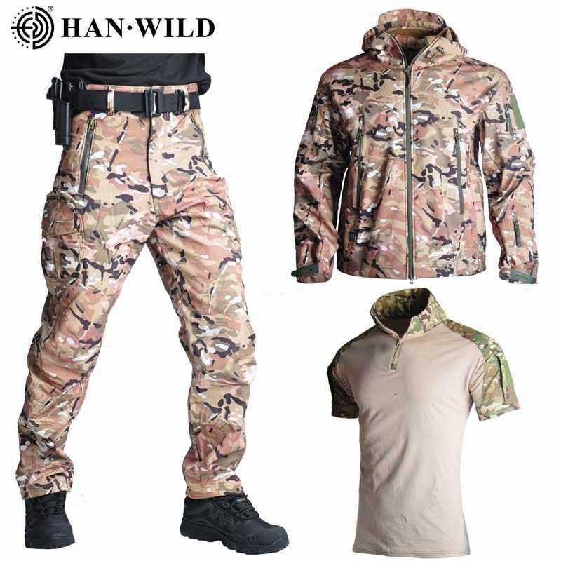 Куртка TAD Shark софтшелл, 3 шт./компл., куртка/брюки для охоты на открытом воздухе с рубашками, камуфляжные военные армейские костюмы для походов