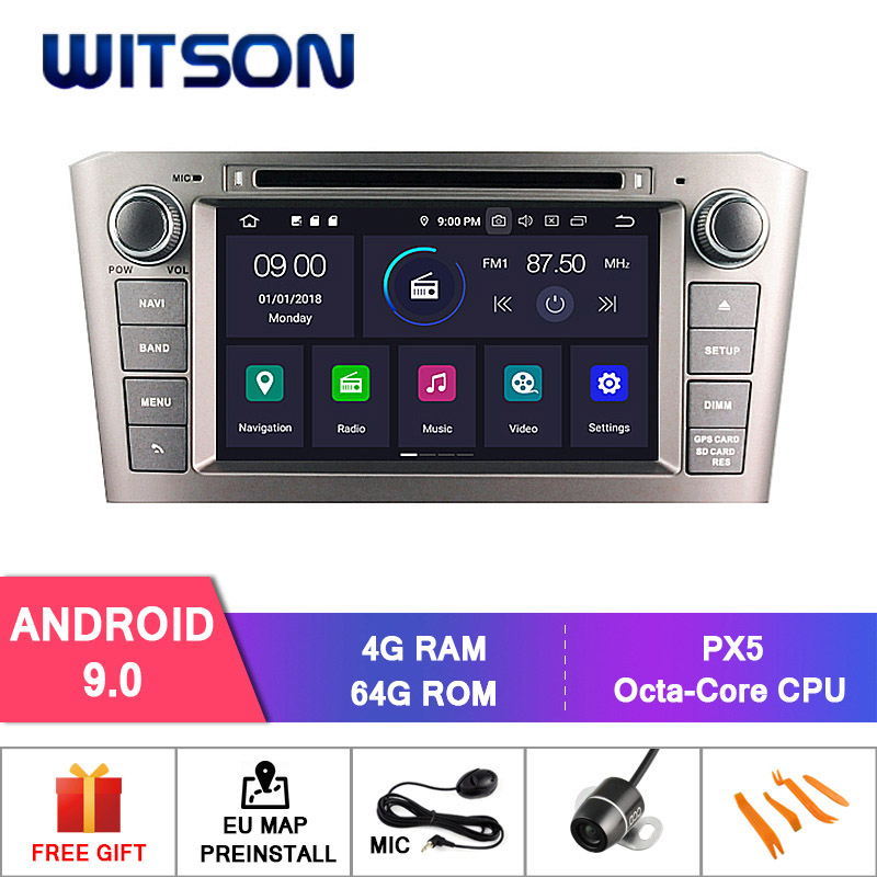 Germany Stock! WITSON Android 9.0 IPS Screen CAR DVD for TOYOTA AVENSIS 2005-2007 4GB RAM+64GB FLASH 8 Octa Core+DVR/WIFI+DAB