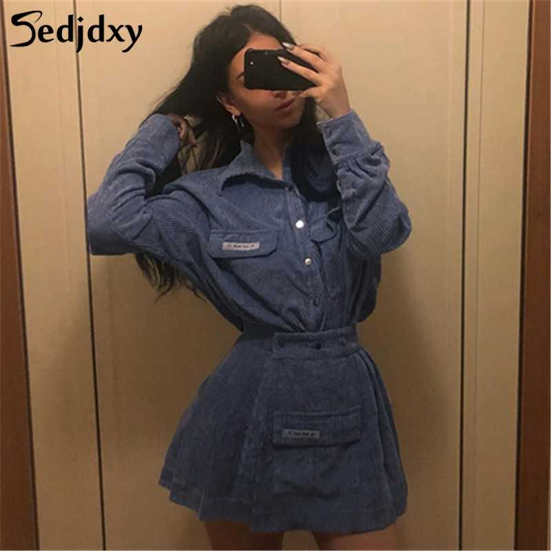 Women Turn-down Collar Shirt And Skirts 2 Pieces Sets Lady Casual Mini Streetwear Skirts Wild Slim Tops 2019 New Autumn