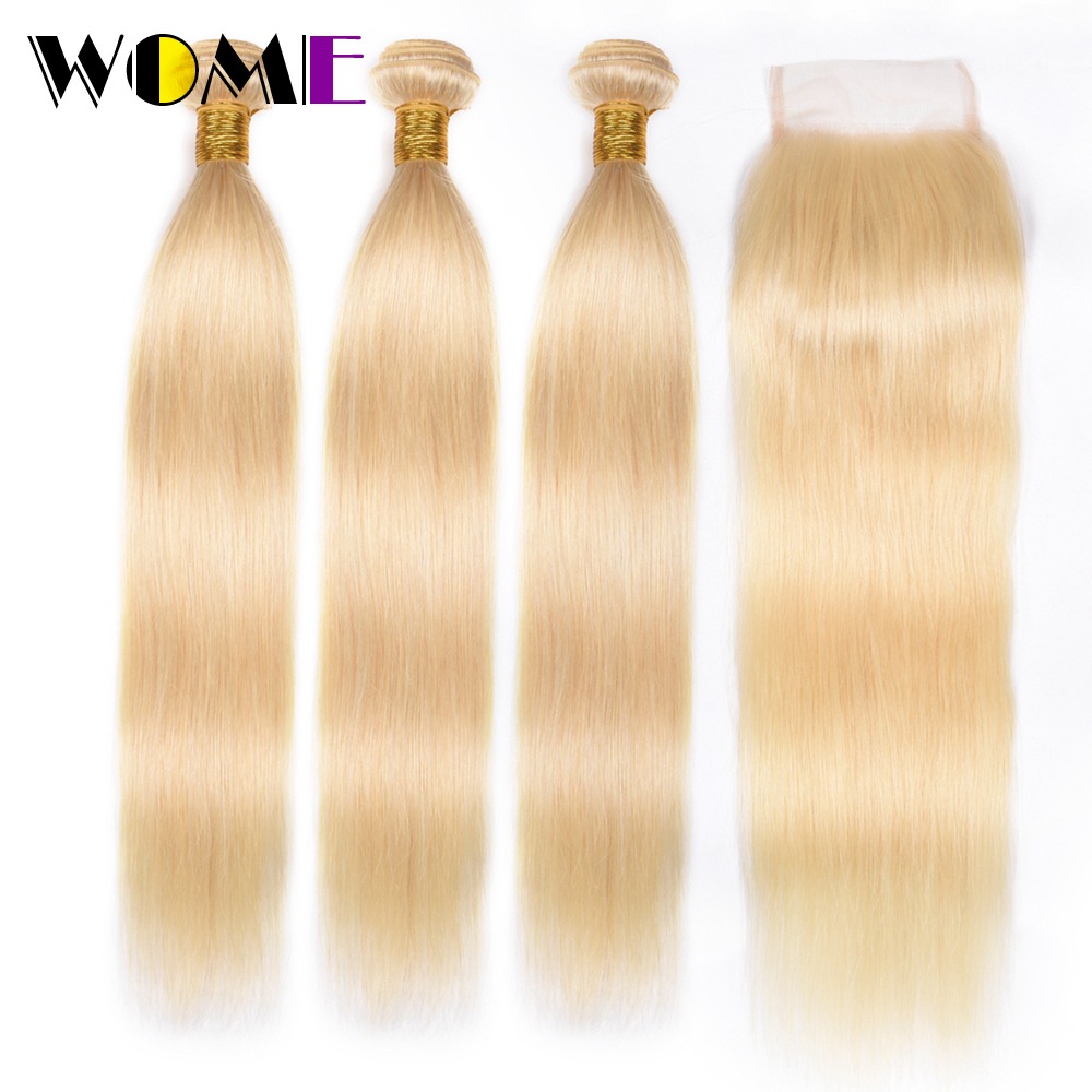 Wome Pre-colored Honey Blonde 613 Bundles With Closure Peruvian Remy Straight Human Hair Weave 3 Bundles With 4X4 Closure