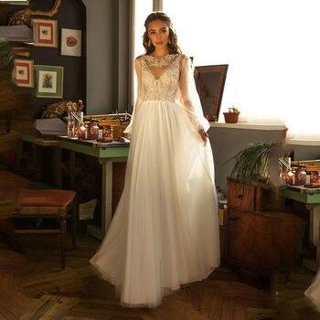 Verngo 2020 New Boho Wedding Dress Lace Applique A Line Graceful Sheer Long Lantern Sleeves Bridal Dress Vintage Robe de mariage lace applique lantern sleeve cold shoulder top
