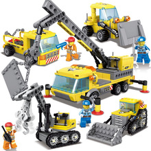 4in1 City Engineering Large Trailer Building Blocks Toys City Police Car Truck Crane Excavator Bulldozer Vehicle for Boys Gift engineering vehicle mechanical group electric remote control bulldozer excavator toy boy assembly building blocks birthday toys