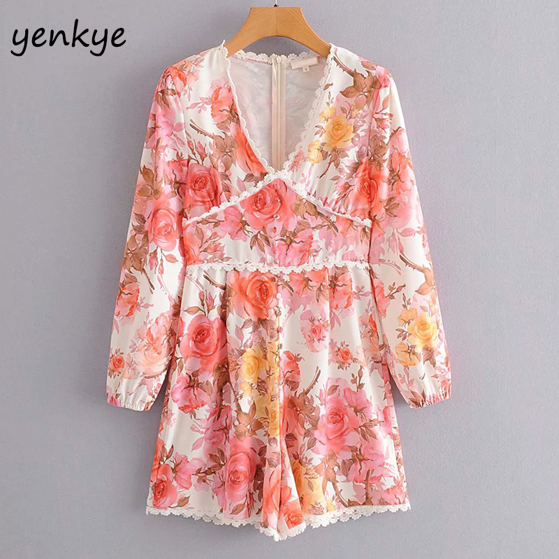 Vintage Floral Print Jumpsuit Women Lace Trim V Neck Long Sleeve  Holiday Summer Boho Jumpsuit Short Romper  DJF9055