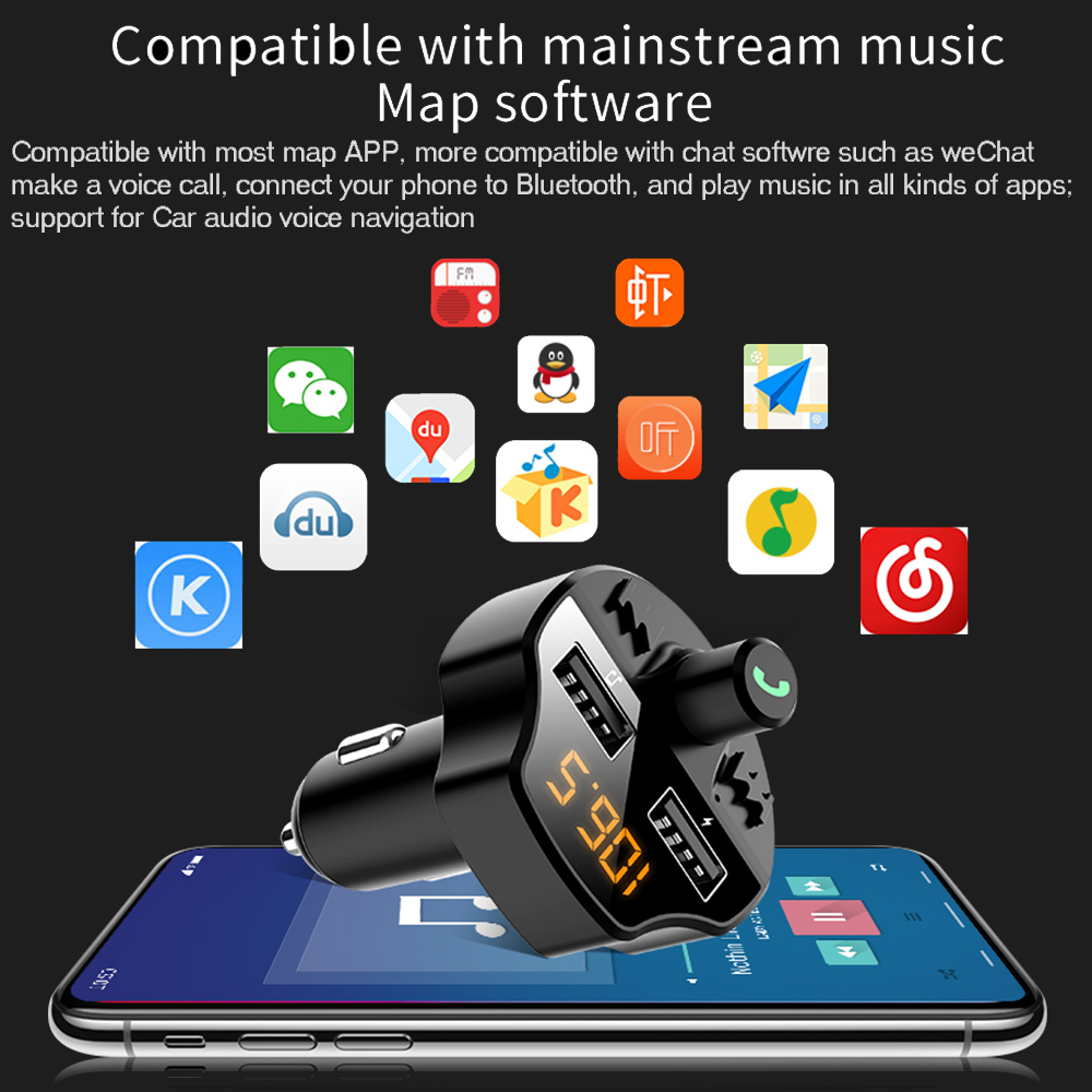 Car Fm Transmitter Bluetooth 5.0 Car Mp3 Player Modulator Adapter Battery Voltage TF Card Hands-free Dual USB Smart Chip T66