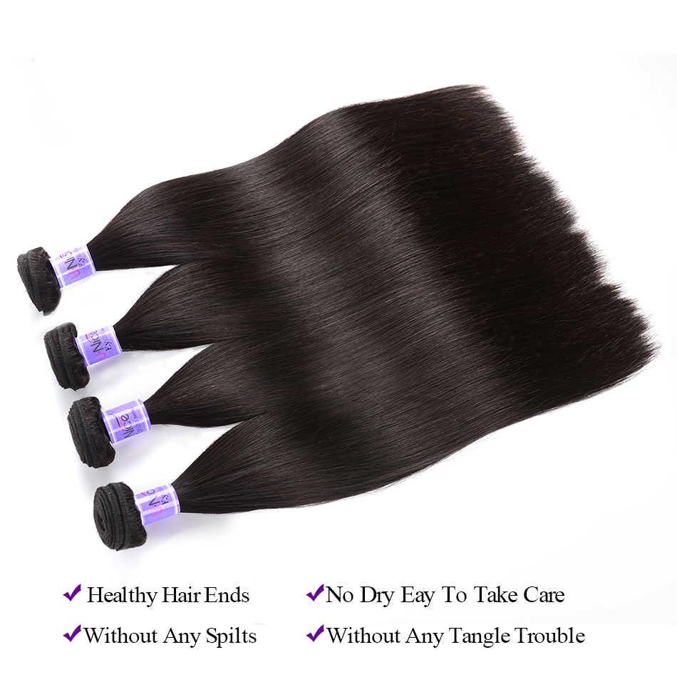 UNice Hair Kysiss Series 8A Brazilian Virgin Hair Straight Hair 3 PCS Bundle With Closure 100% Human Hair Bundle With Closure