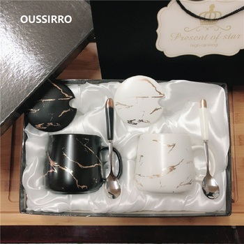 OUSSIRRO 350ML Marble Couple Cup Ceramic Coffee Mug With spoon an Cover Creative Valentine's Day Wedding Birthday Gift 1