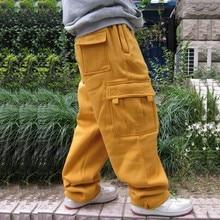 Брюки для бега в стиле хип-хоп размера плюс, спортивные штаны для мужчин и женщин, уличная одежда с большим карманом, брюки-карго, повседневные Прямые Свободные мешковатые брюки