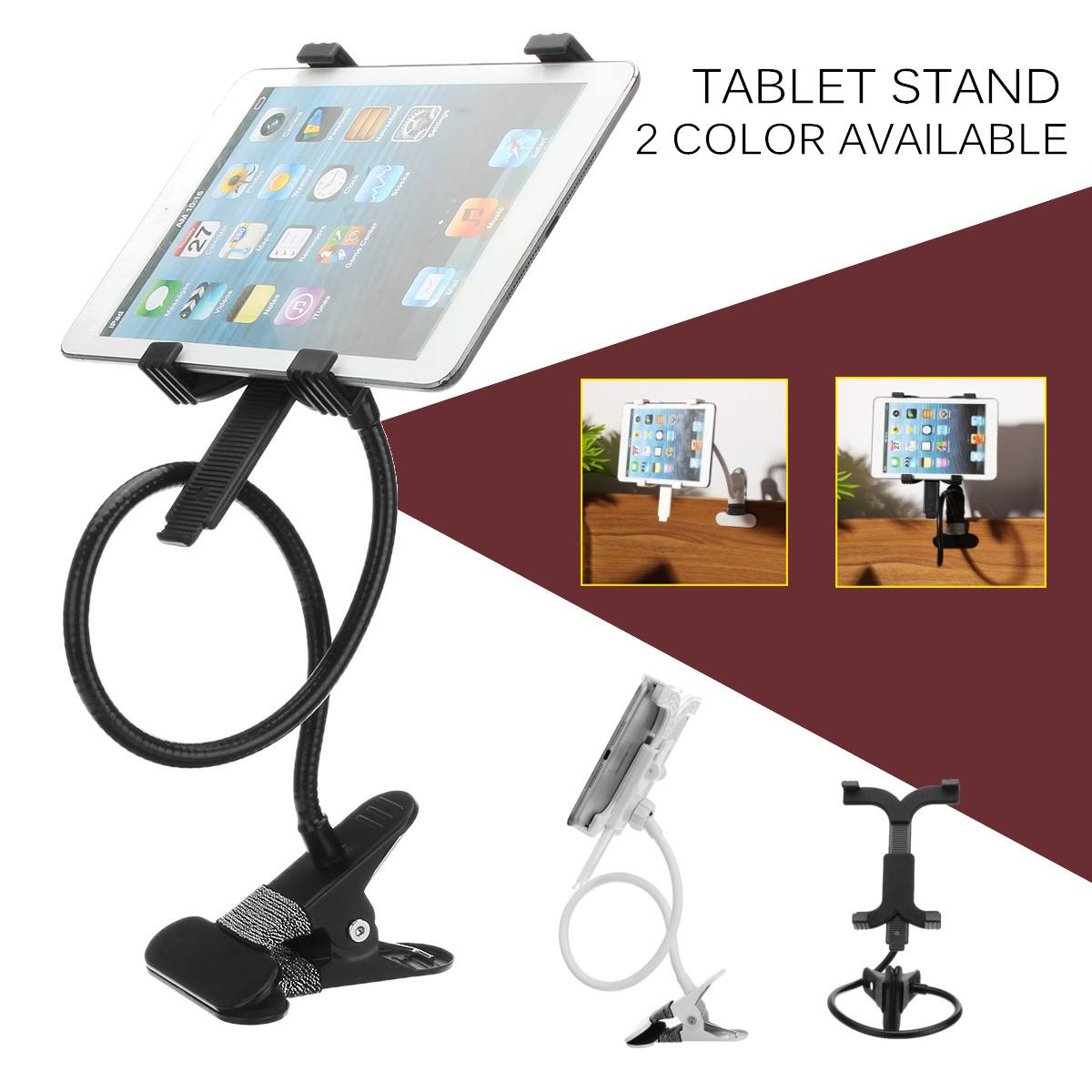 Metal 360 Rotating Tablet Stand Bed Desk Mount Holder Clamp Tablet Bracket Organizer Tablet Accessories 7 Inch 10 Inch 2 Colors
