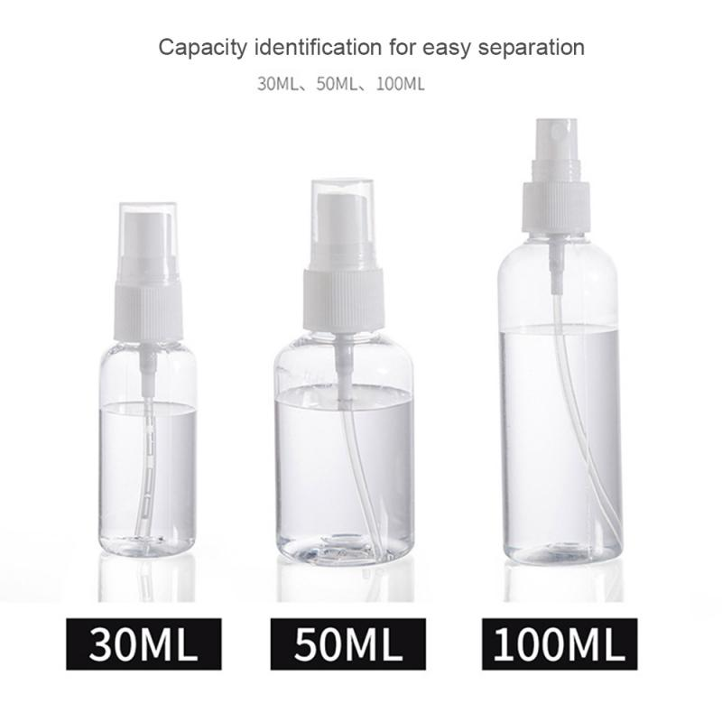 30ml/50ml/100ml Transparent Empty Spray Bottles 1Pcs Portable Refillable Bottle Cosmetic Hand Sanitizer Alcohol Dispenser