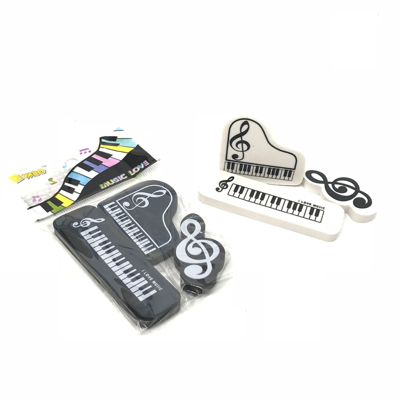 3pcs Music Piano Pencil Eraser Creative Office School Stationery 3D Grand Piano Shape High Note Staff Pattern Eraser Kids Gifts