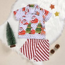 Christmas Fashion Children Set Two Piece Cute Comfortable Short Sleeved Shorts Boys Santa Claus Printed Shirt Striped Pants
