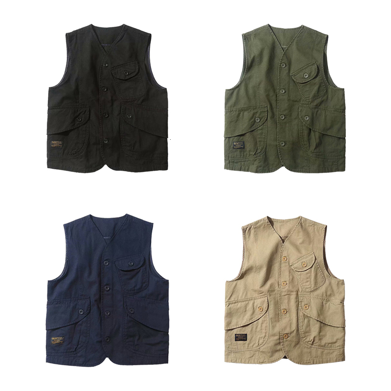 Trendy Safari Style Multi pocket Work Jacket Man Tee Shirt Vest Japanese Casual Jacket Musculation Mens Gym Fitness Clothing