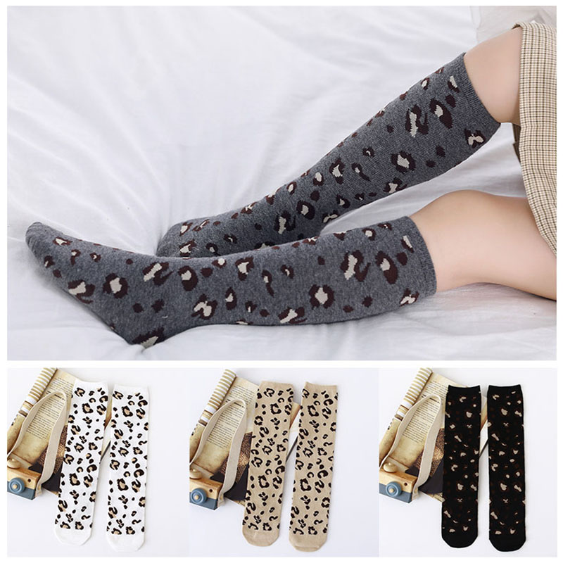Fashion Leopard Boys Girls Socks Cotton Soft Kids Knee High Socks Winter Leg Warmers Children Long Sock Meia Calcetines