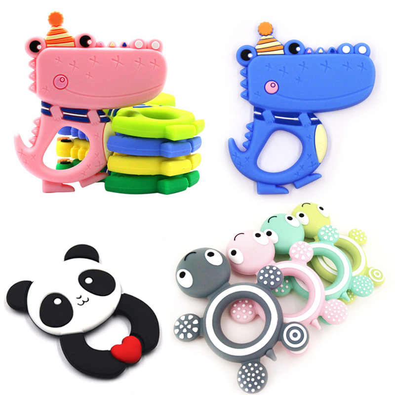 Baby Silicone Teether BPA Free Cartoon Hippo Panda Cute Animal Teething Pendant Crocodile Necklace Accessories Infant Chew Toys